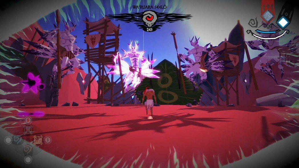 遊戲第二關的頭目螳螂王,會使出多重影分身,必須利用洞察之眼找出其本體攻擊。圖片中...