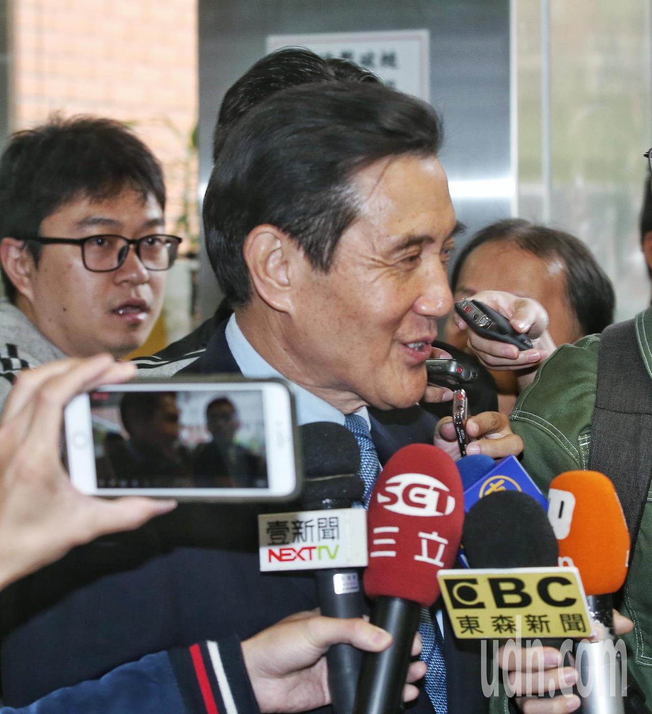 前總統馬英九上午出席演講活動,會前受訪接受媒體採訪。記者鄭清元/攝影