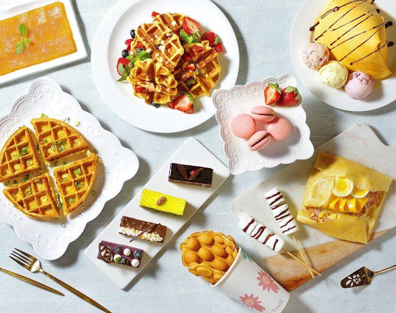 六國餐廳平日下午茶提供多款現點現做的繽紛甜點。圖/台北花園大酒店提供