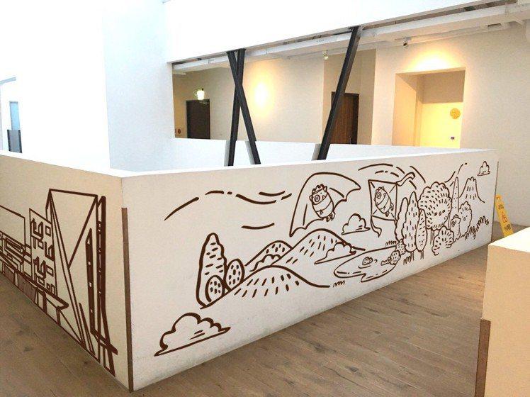 天成文旅─繪日之丘新漆上吉祥物元素的彩繪牆面。圖/天成提供
