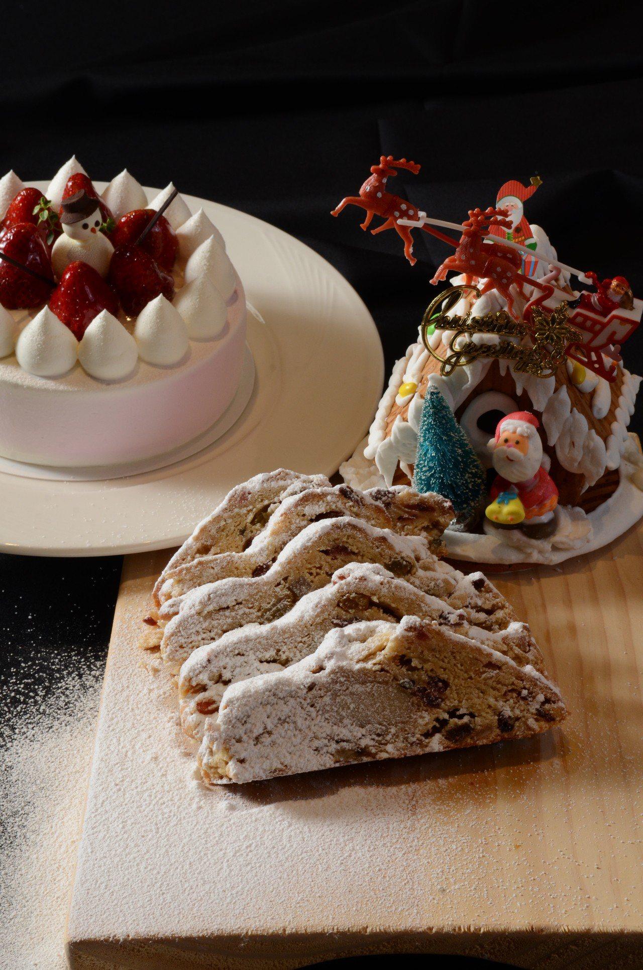 造型薑餅屋(右)、潘娜朵妮(前)、草莓8吋蛋糕(後)。圖/圓山大飯店提供