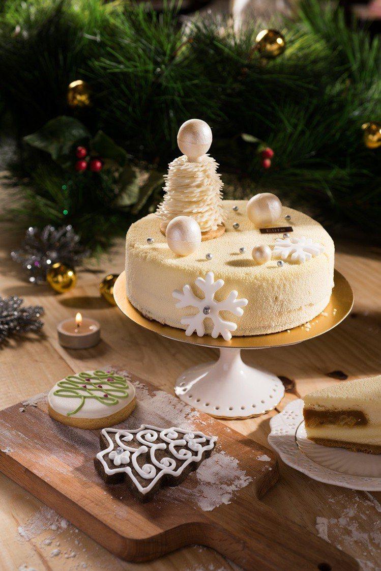 Elite Bakery「雪白米花蛋糕」,售價1280元。圖/六福旅遊集團提供