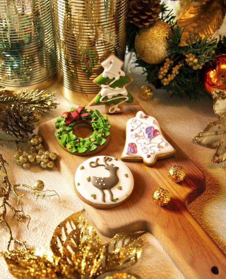 四款造型的耶誕節餅乾,任選2片180元。圖/大倉久和飯店提供
