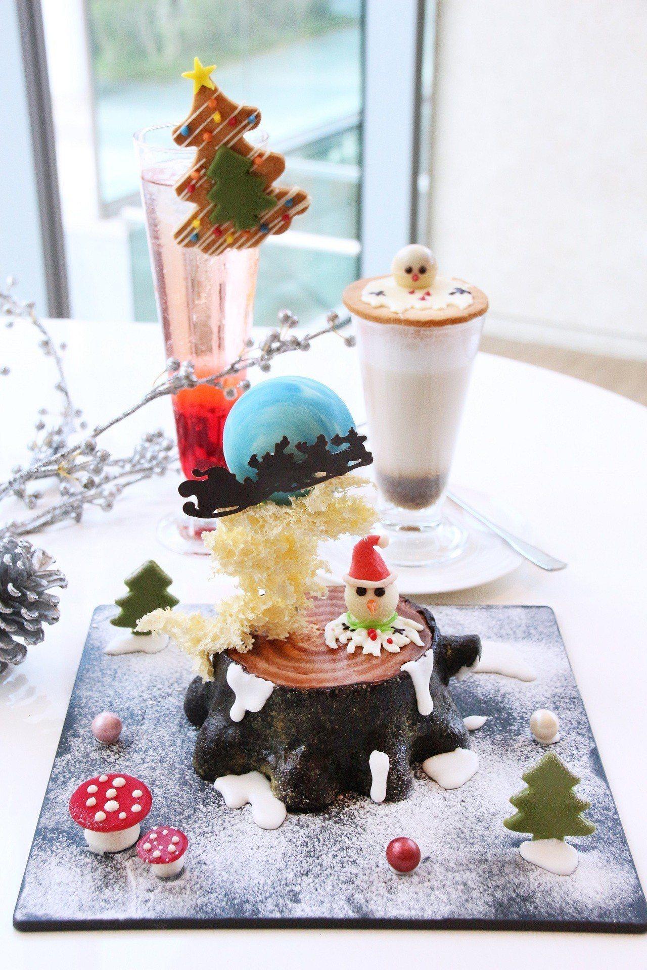 「麋鹿雪橇飛月耶誕蛋糕」售價600元+10%。圖/台中日月千禧酒店提供