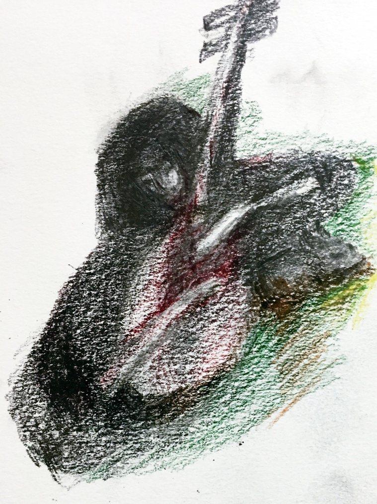 在病床上勾勒出演奏琵琶的女人,其中還藏著一隻我用手機拍攝自228紀念公園之松鼠,...