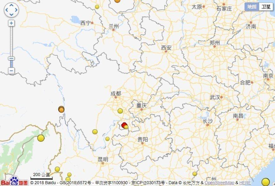 四川省宜賓市興文縣(紅點處)16日中午12時46分發生芮氏規模5.7地震,震源深...