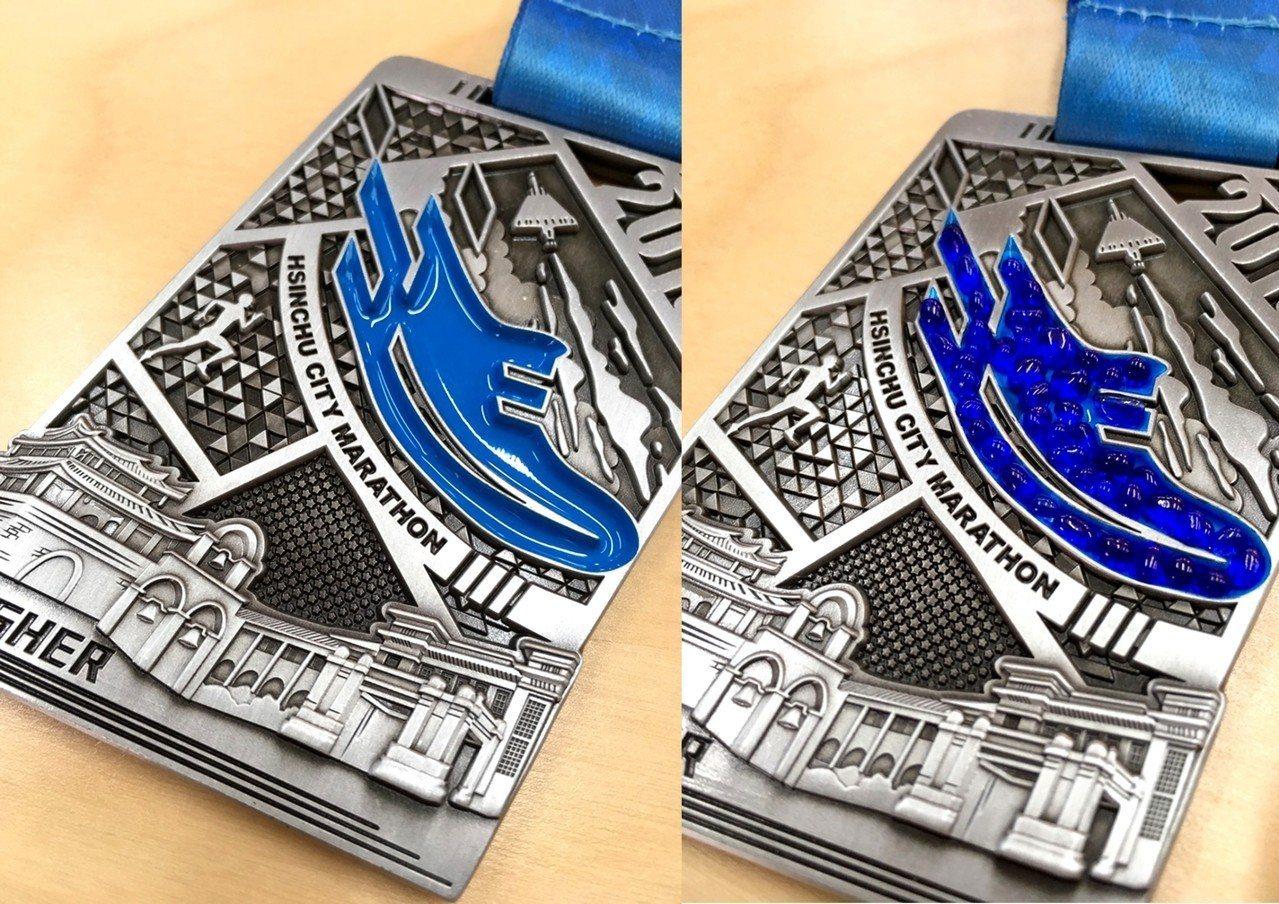 新竹城市馬拉松推出在地特色兼具環保概念的賽事紀念獎盃。圖/新竹市府提供