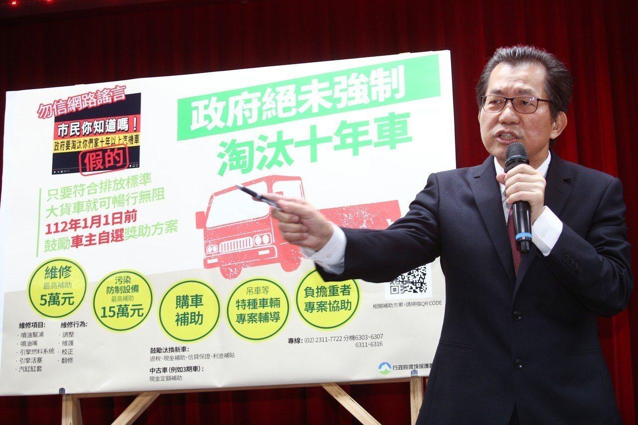 環保署前署長李應元,在本月卸任惜別會致詞時,為未強制淘汰十年老車與紅色警戒日數辯...
