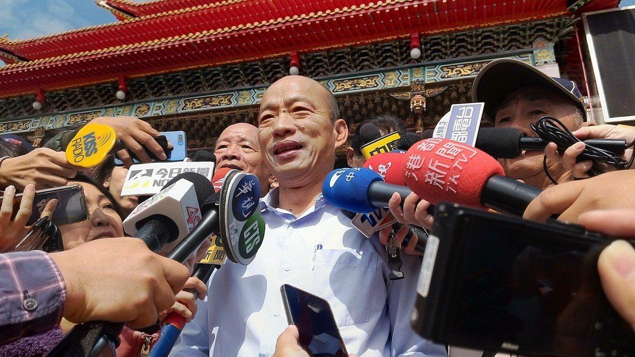 高市長當選人韓國瑜說,找李四川當副手,跟朱立倫選總統沒關係。記者蔡孟妤/攝影