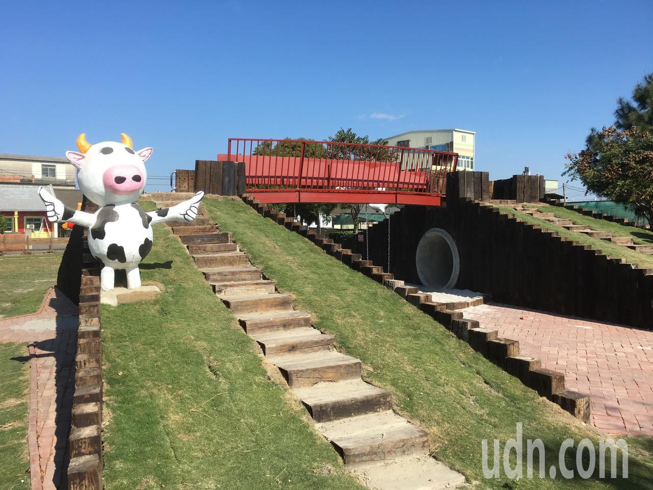 雲林縣二崙鄉湳仔社區參加雲林縣社區PK賽,打造好運通公園,裡面有一座大型雙梯道的...