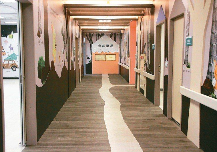 輔大醫院改造兒童急診區,布置有如森林般可愛環境,色調柔和,可減緩兒童就診緊張感,...