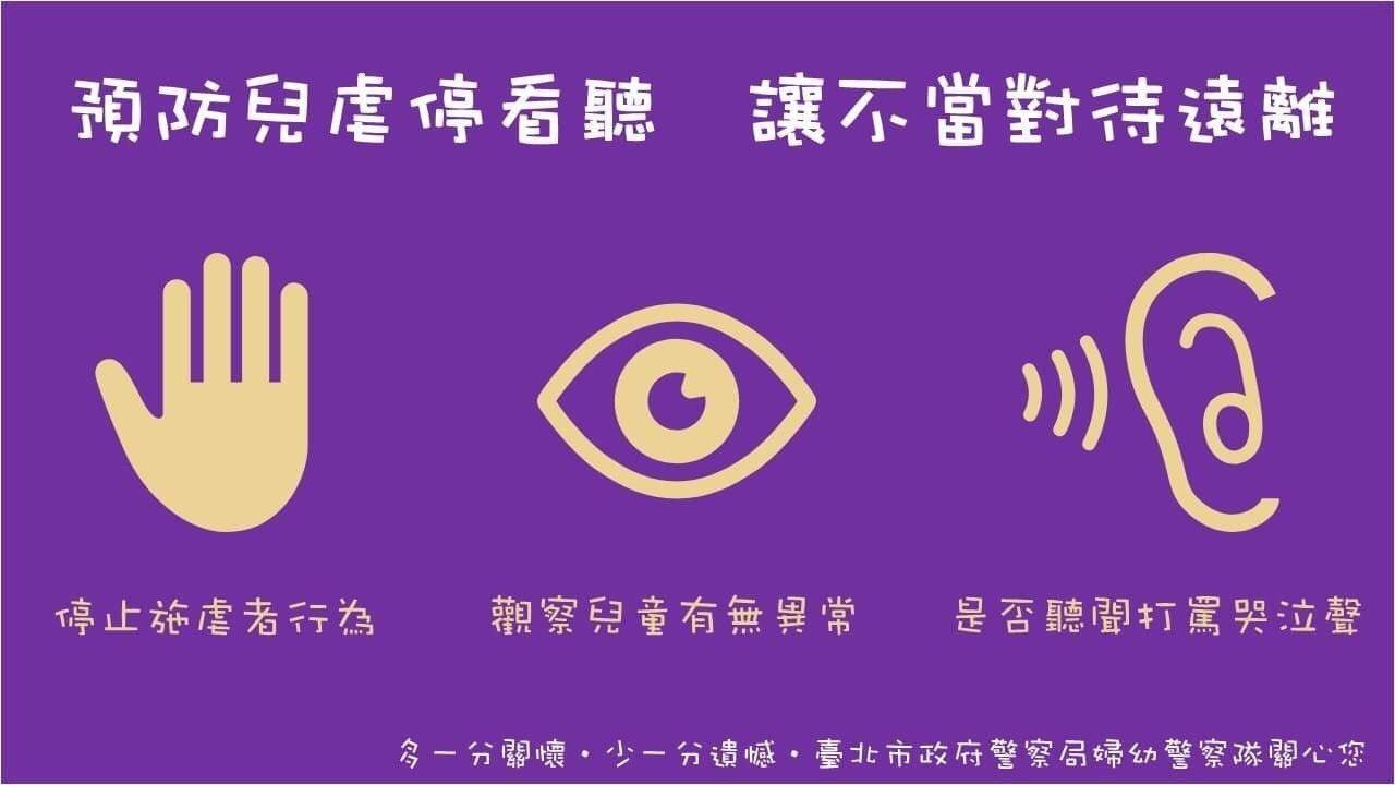 警方提醒民眾「停看聽」原則,及早發現受虐兒避免發生悲劇。圖/台北市婦幼警察隊提供