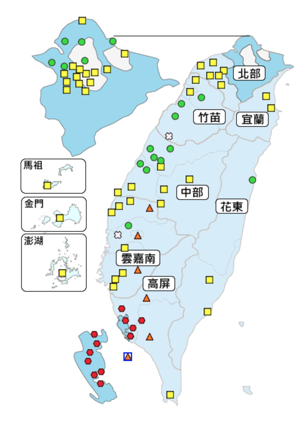 今天有12個空品測站達到紅害等級。圖/翻攝自環保署空氣品質監測網