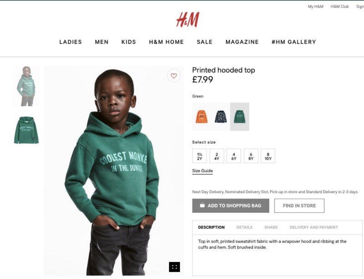 H&M年初因為找了黑人小孩穿上寫著「森林中最酷的猴子」字樣的服裝也被指控有種族歧...