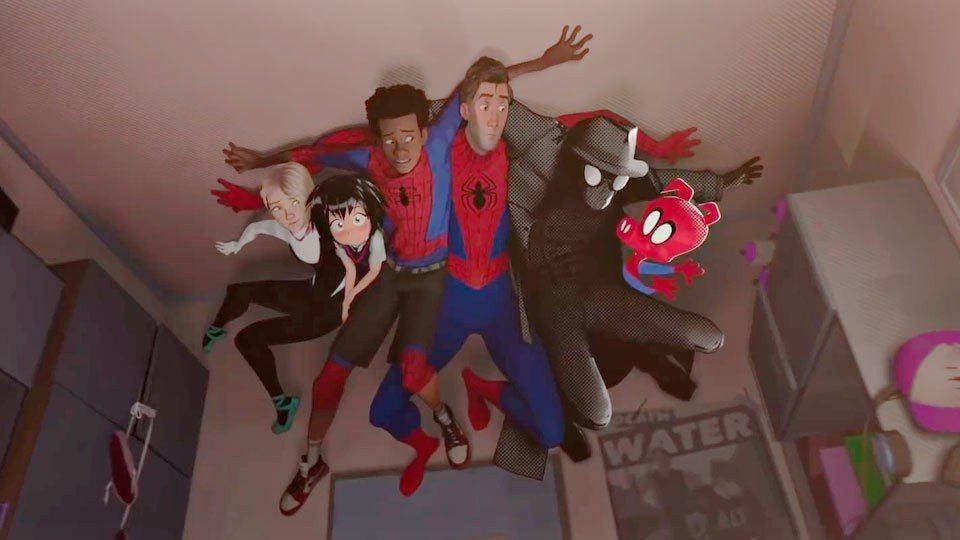 「蜘蛛人:新宇宙」 中不同版本、生活在平行宇宙中的蜘蛛人首度集結。圖/摘自imd...