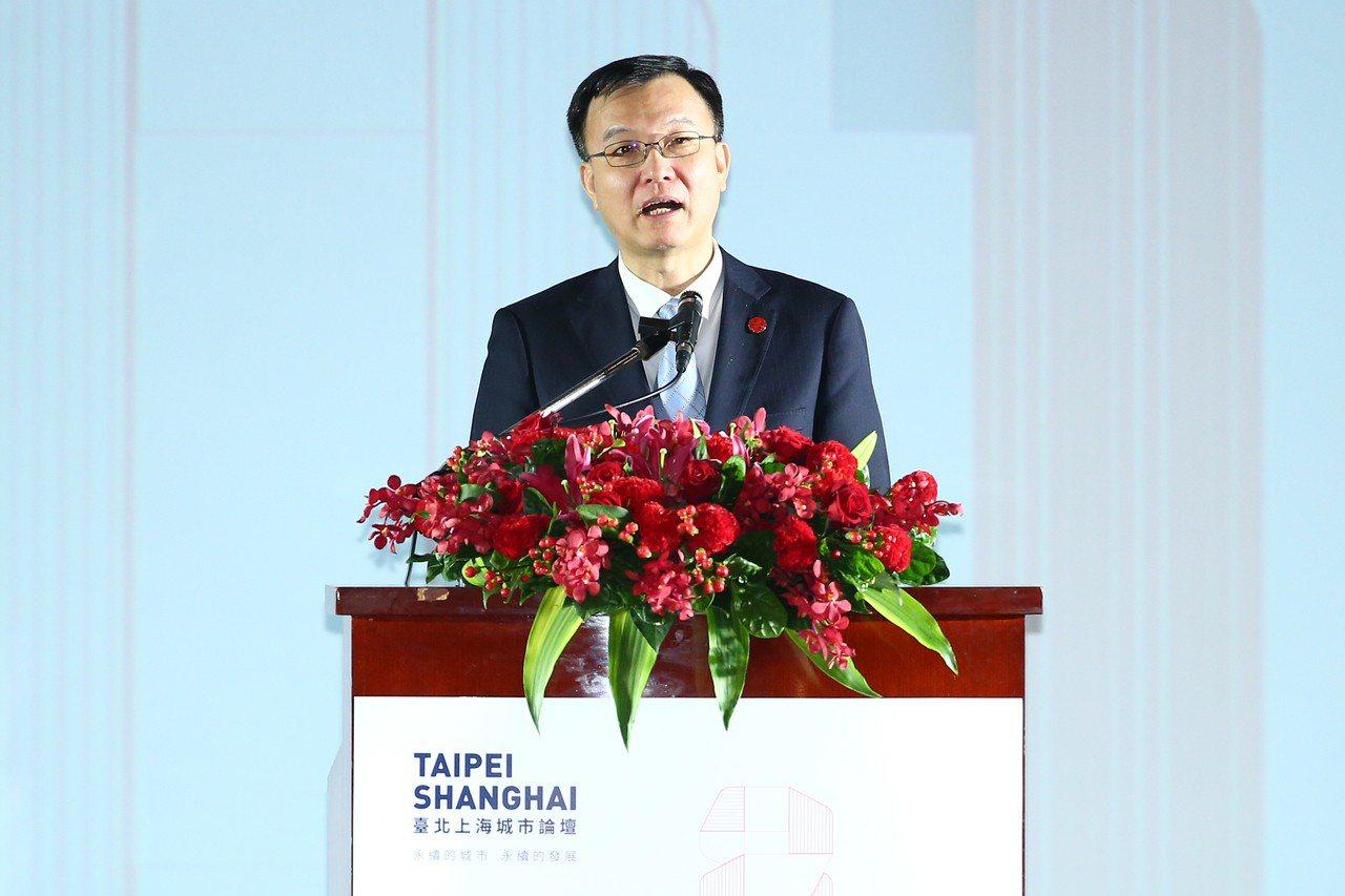 「2018台北上海雙城論壇」昨在圓山飯店舉行迎賓晚宴,上海市副市長周波致詞時提到...