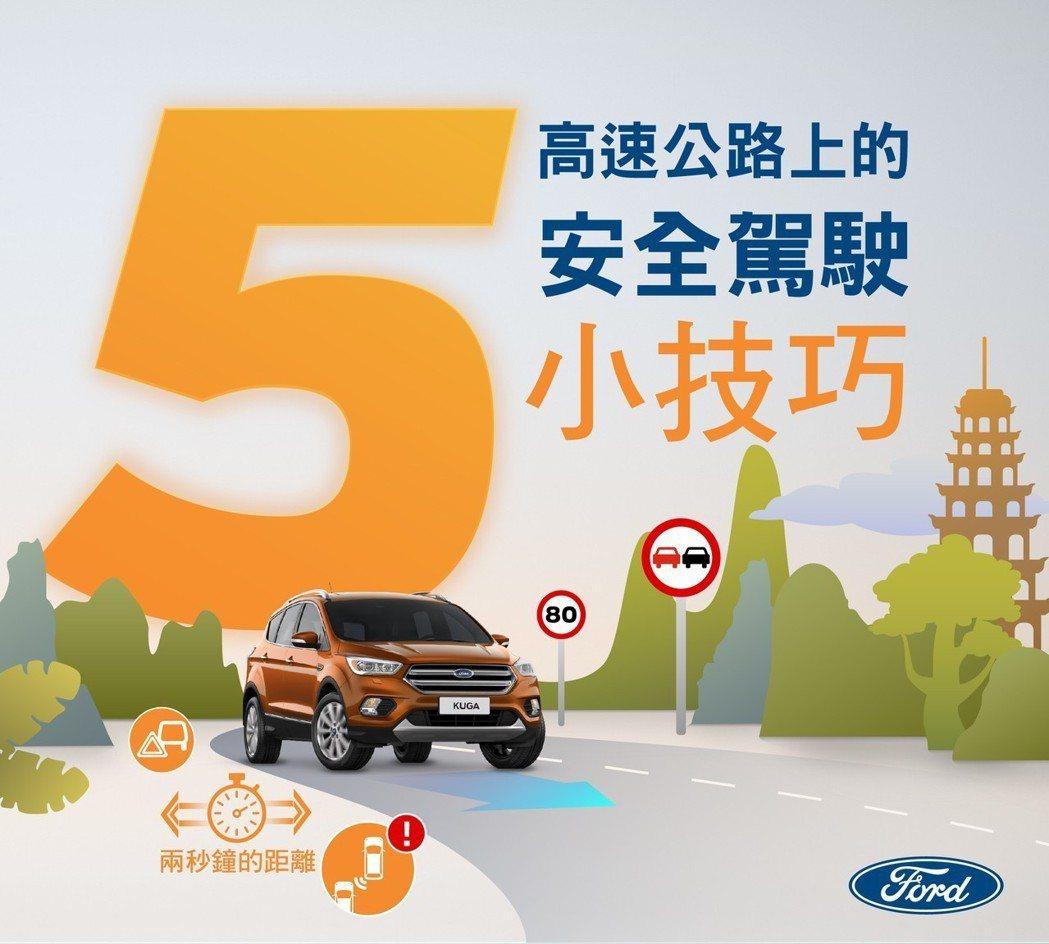 跨年、長途旅行五大重點提醒─高速公路行車安全一次掌握。 圖/Ford提供