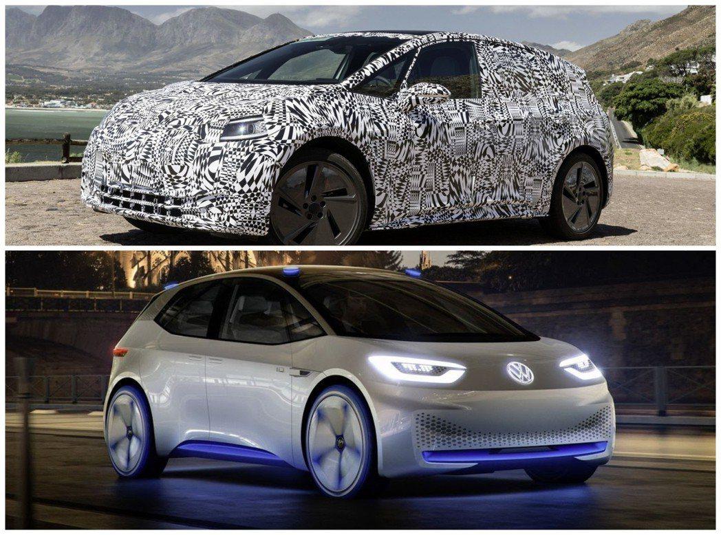 圖上為量產版Volkswagen ID. Hatchback,圖下則為概念車版本...
