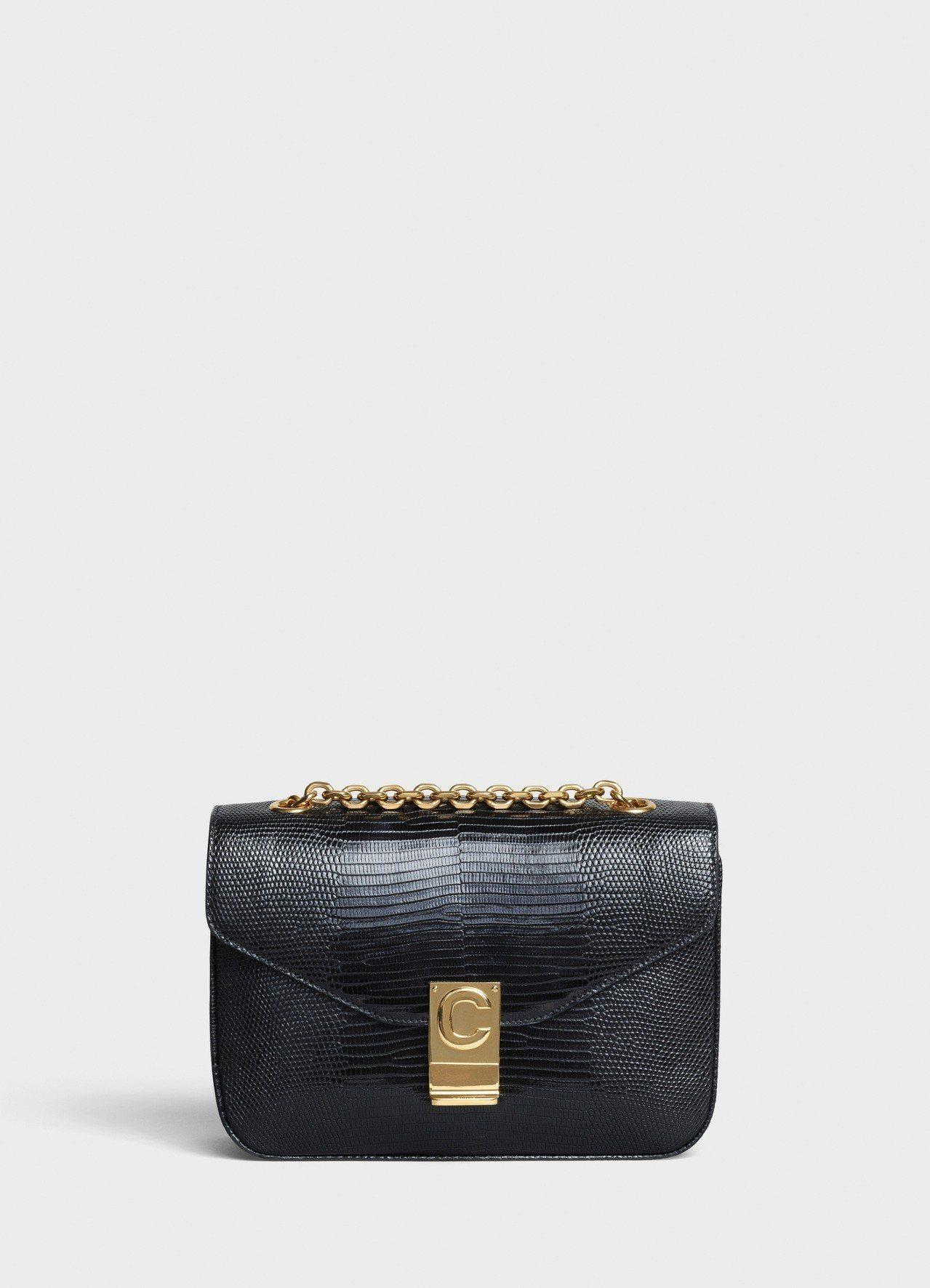 黝黑色蜥蜴皮中型鍊帶C Bag,售價22萬5,000元。圖/CELINE BY ...