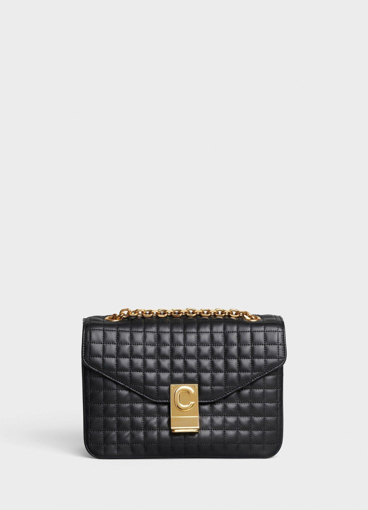 黝黑色格紋襯芯小牛皮中型鍊帶C Bag,售價99,000元。圖/CELINE B...