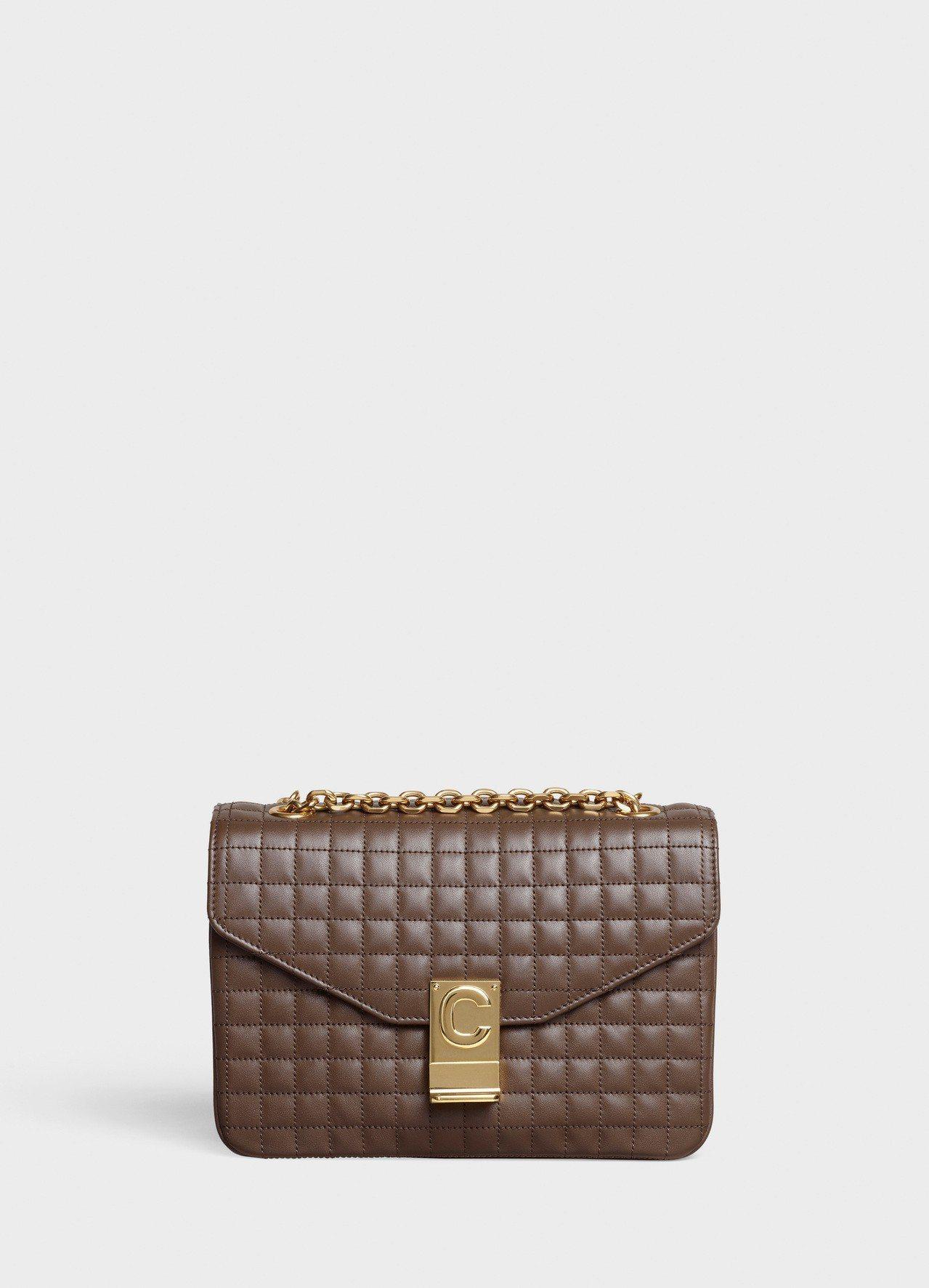 棕色格紋襯芯小牛皮中型鍊帶C Bag,售價99,000元圖/CELINE BY ...