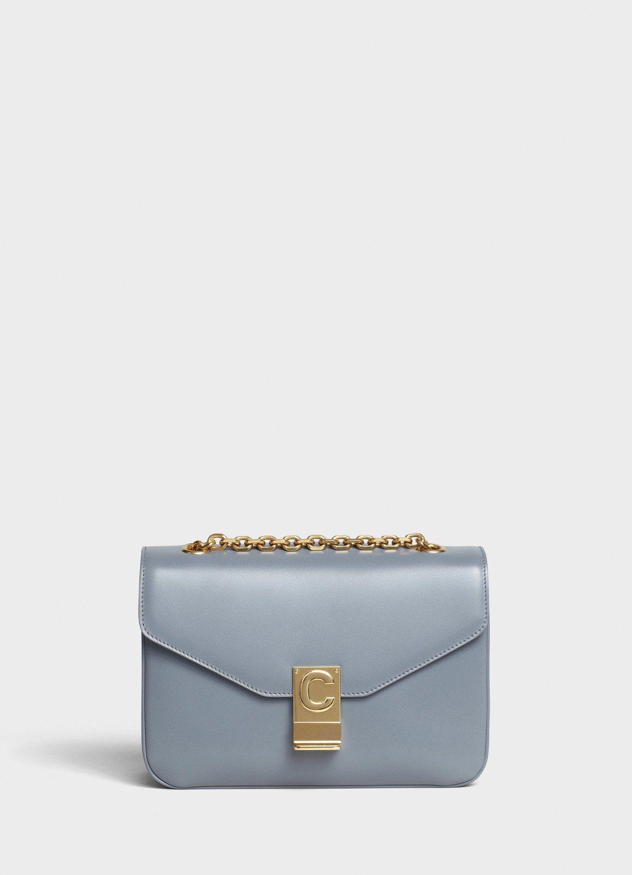 灰色光滑小牛皮中型鍊帶C Bag,售價99,000元。圖/CELINE BY H...