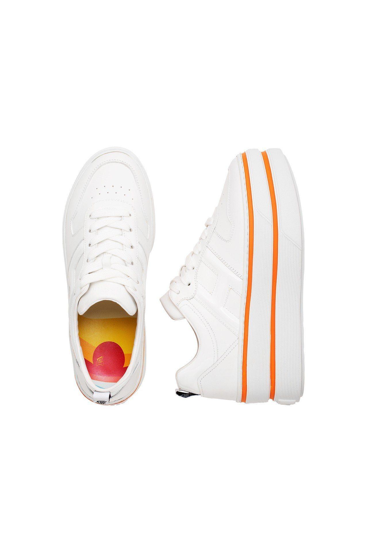 HOGAN MAXI CUPSOLE螢光橘女士休閒鞋,價格店洽。圖/迪生提供