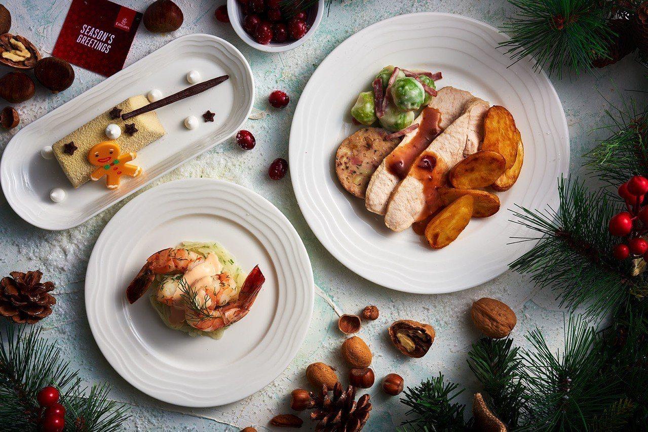 頭等艙旅客則可以享受烤火雞胸肉與杏果鑲餡、奶油抱子甘藍、火雞培根佐蔓越莓淋醬。圖...