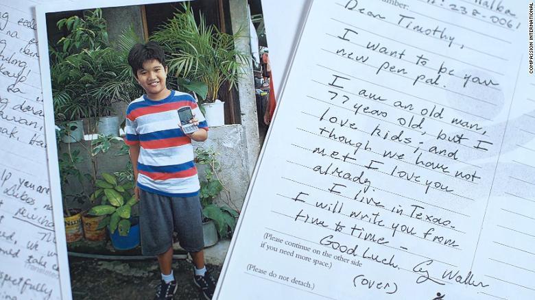 老布希寫給菲國男童提莫西的親筆信。 圖/翻攝美國有線電視新聞網