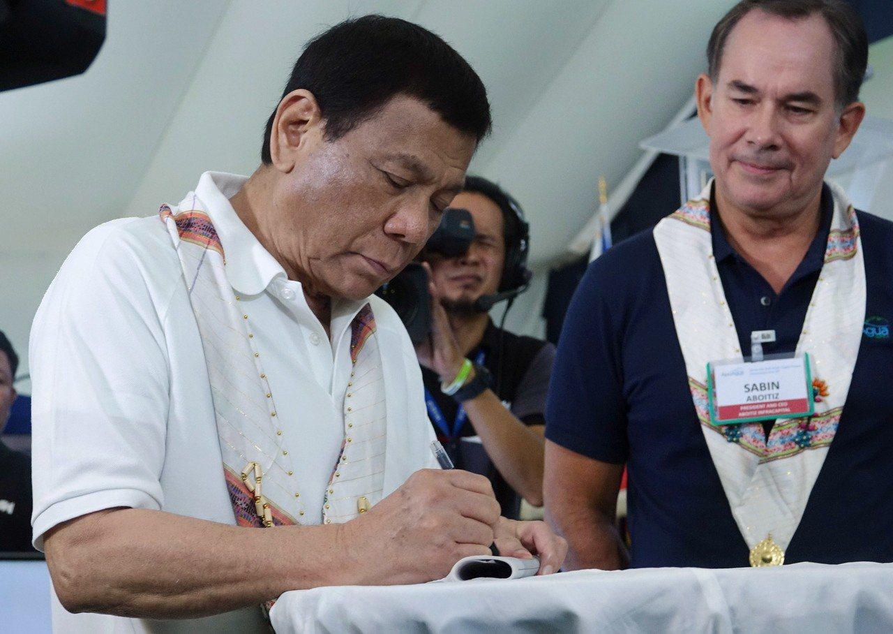 菲律賓總統杜特蒂。 歐新社