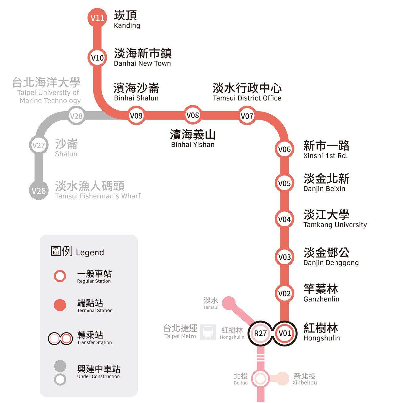 淡海輕軌綠山線包含11個站點。圖片來源/新北大眾捷運公司