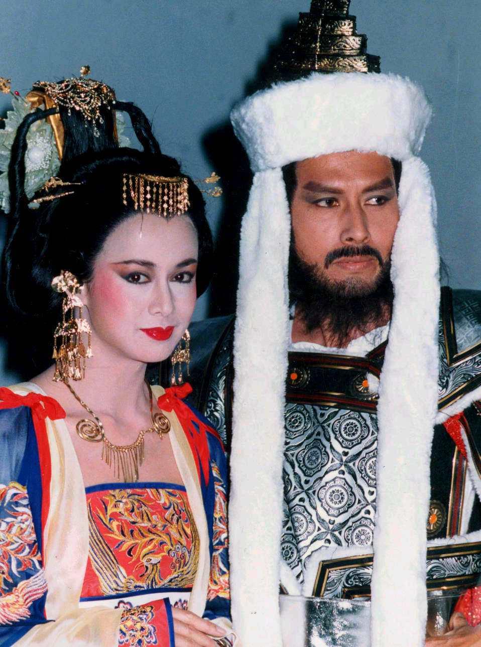 湯蘭花與張國柱在台視「楊貴妃傳奇」飾演楊貴妃和安祿山。圖/報系資料照片