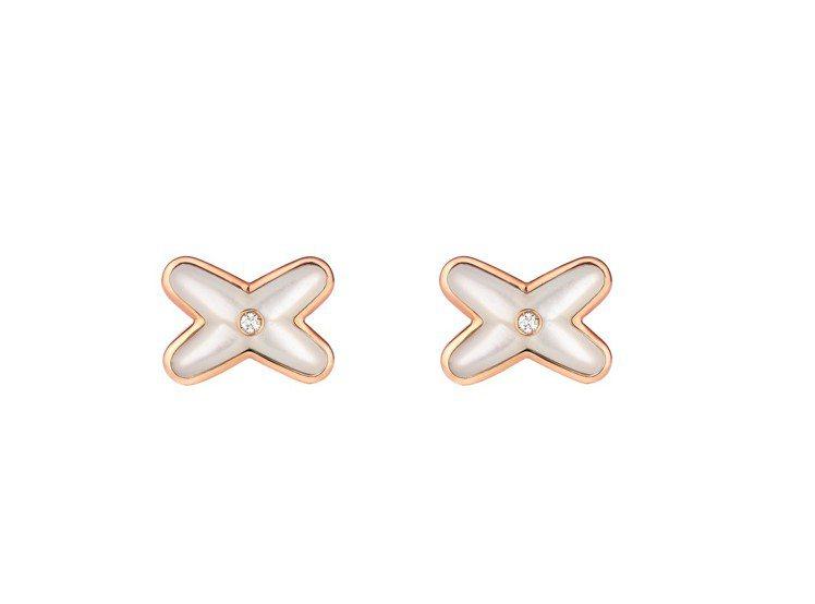 Jeux de Liens 18K玫瑰金耳環鑲嵌鑽石與珍珠母貝,單只35,000...