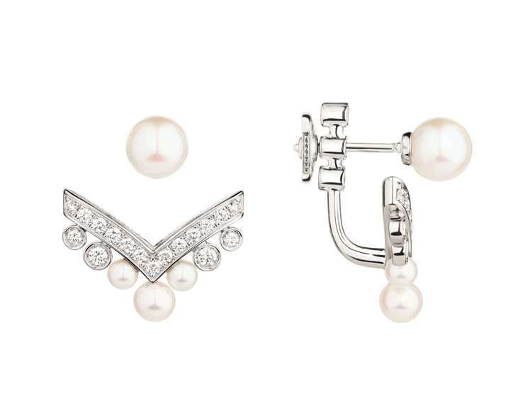 宋慧喬配戴的Joséphine Aigrette 18K白金珍珠耳環,單只13...