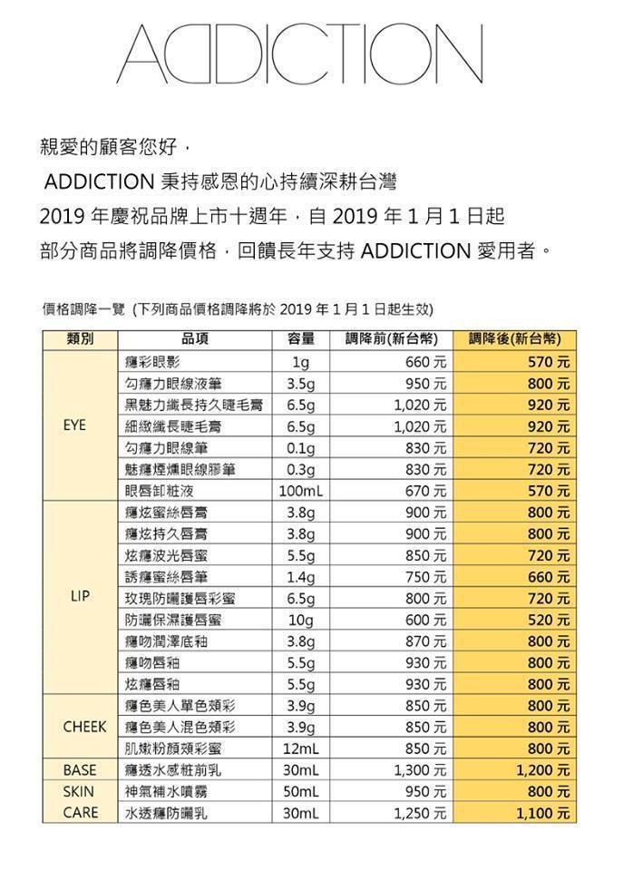 ADDICTION調降價格品項超過20種。圖/摘自ADDICTION粉絲團