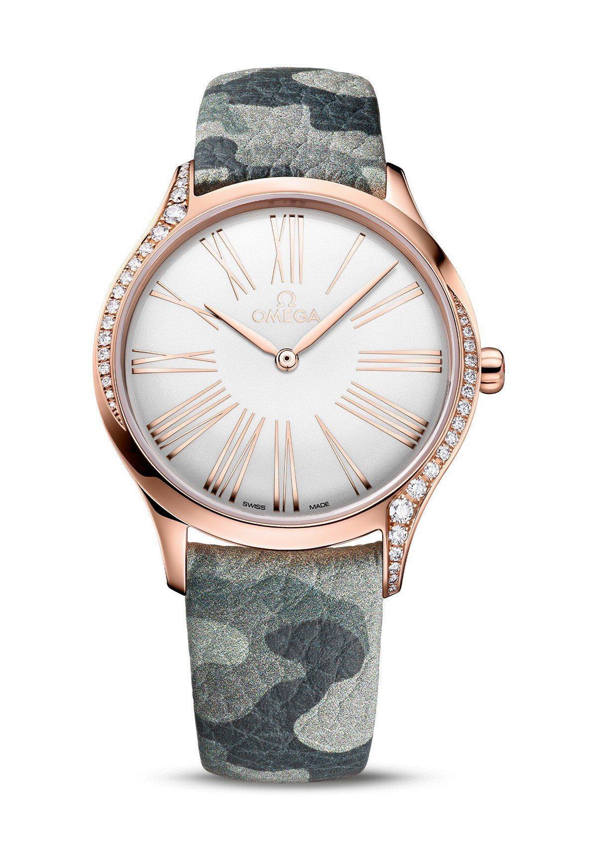 Kaia Gerber操刀,設計出Trésor女表的米色迷彩表帶,限於品牌專賣店...