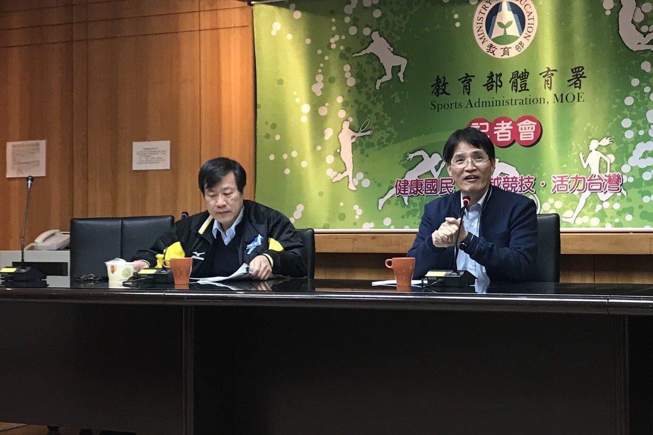 體育署長高俊雄(右)及學校組組長王漢忠。記者毛琬婷/攝影