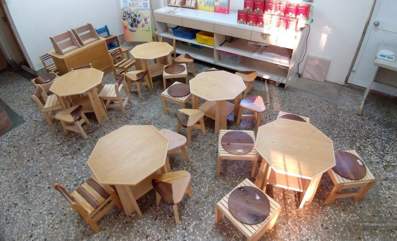 勞動部勞動力發展署雲嘉南分署將職訓學員的手工木作家具,送給台南市心智障礙關顧協會...