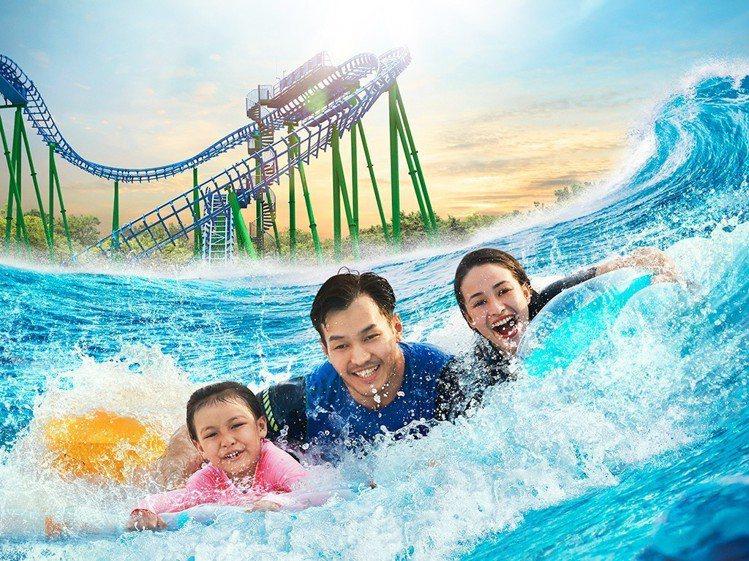 迪沙魯水上探險樂園是度假村的重點設施之一。圖/馬來西亞觀光局提供