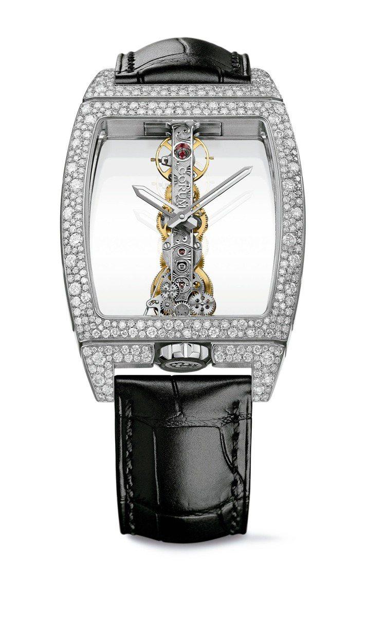 崑崙雪花鑲嵌金橋腕表,34 x 51 毫米18K白金表殼,鑲嵌 314 顆鑽石共...