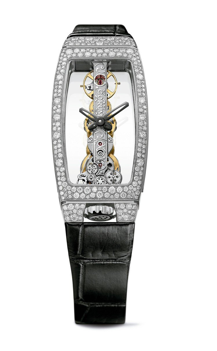 崑崙雪花鑲嵌金橋女裝腕表,21 x 43 毫米18K白金表殼,鑲嵌245 顆鑽石...