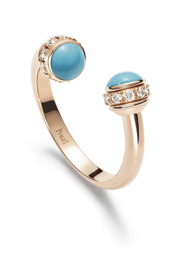 伯爵Possession 系列指環,18K玫瑰金鑲嵌綠松石與20顆圓形美鑽,93...