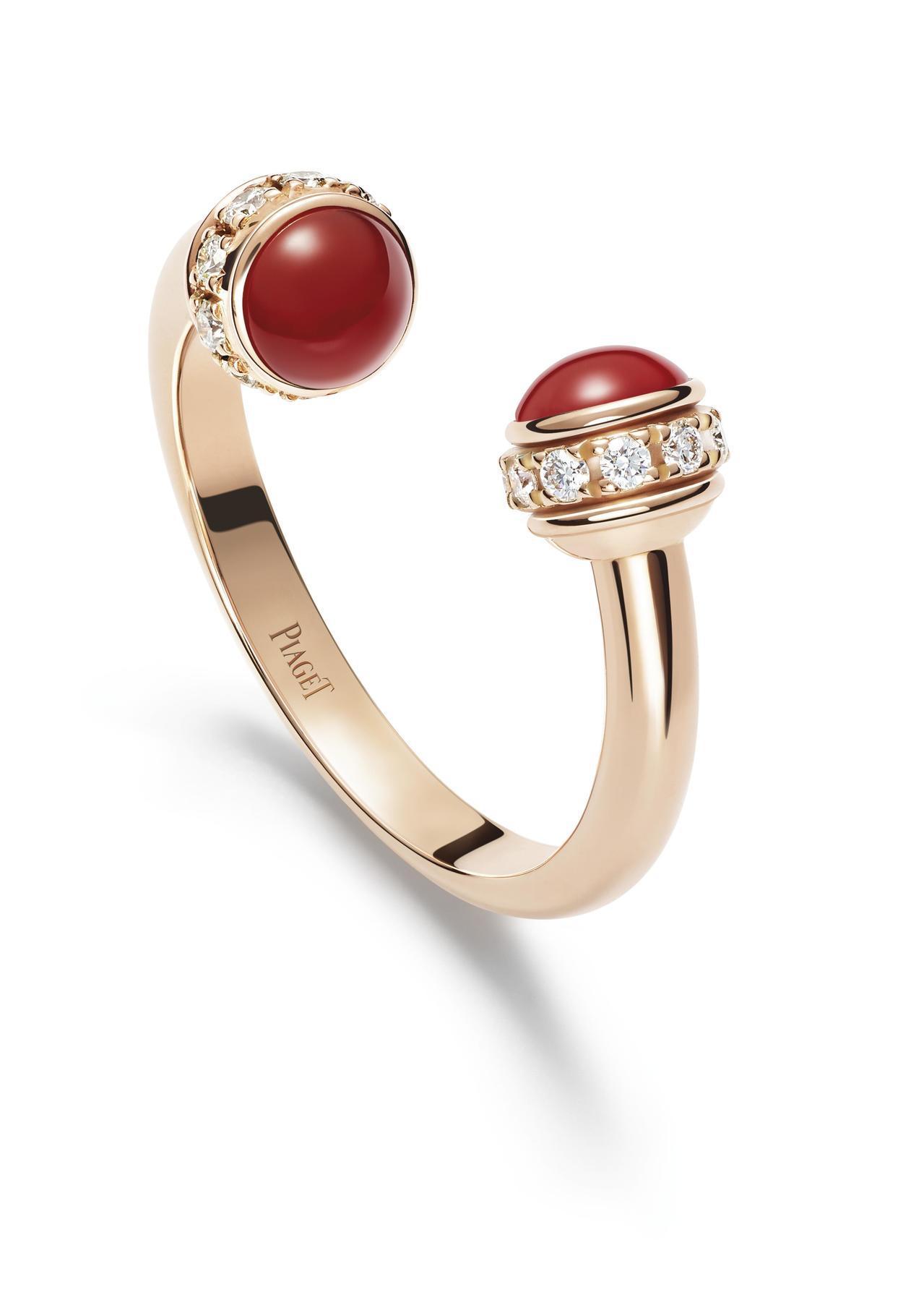 伯爵Possession 系列指環,18K玫瑰金鑲嵌紅玉髓與20顆圓形美鑽,87...