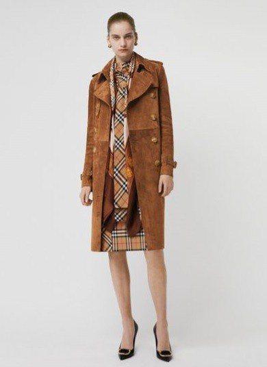 BURBERRY麂皮風衣16萬9,000元、Vintage格紋棉質領口繫結洋裝2...