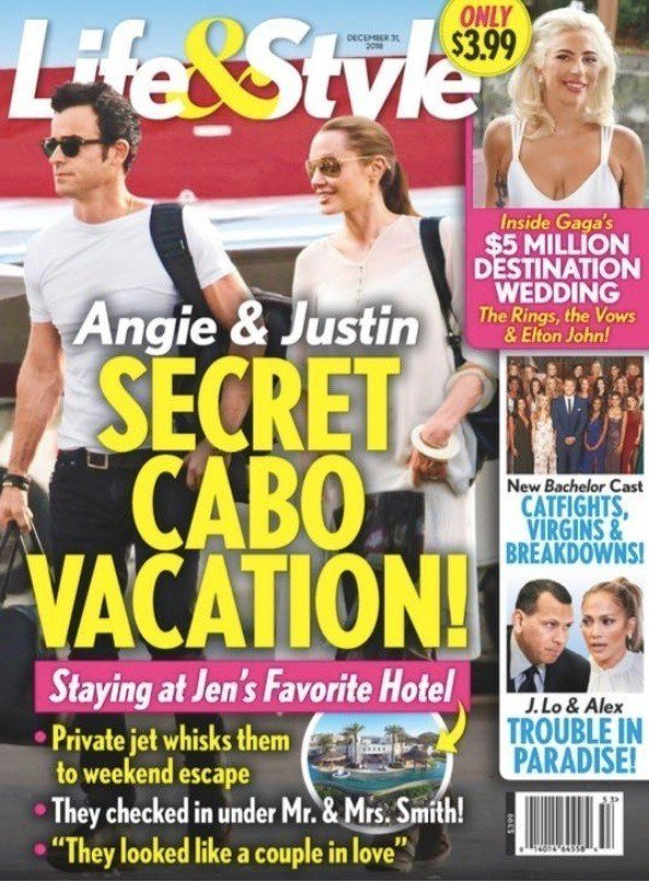 八卦雜誌以合成照片當封面,意圖讓大眾相信安琪莉娜裘莉與賈斯汀賽洛在一起。圖/摘自...
