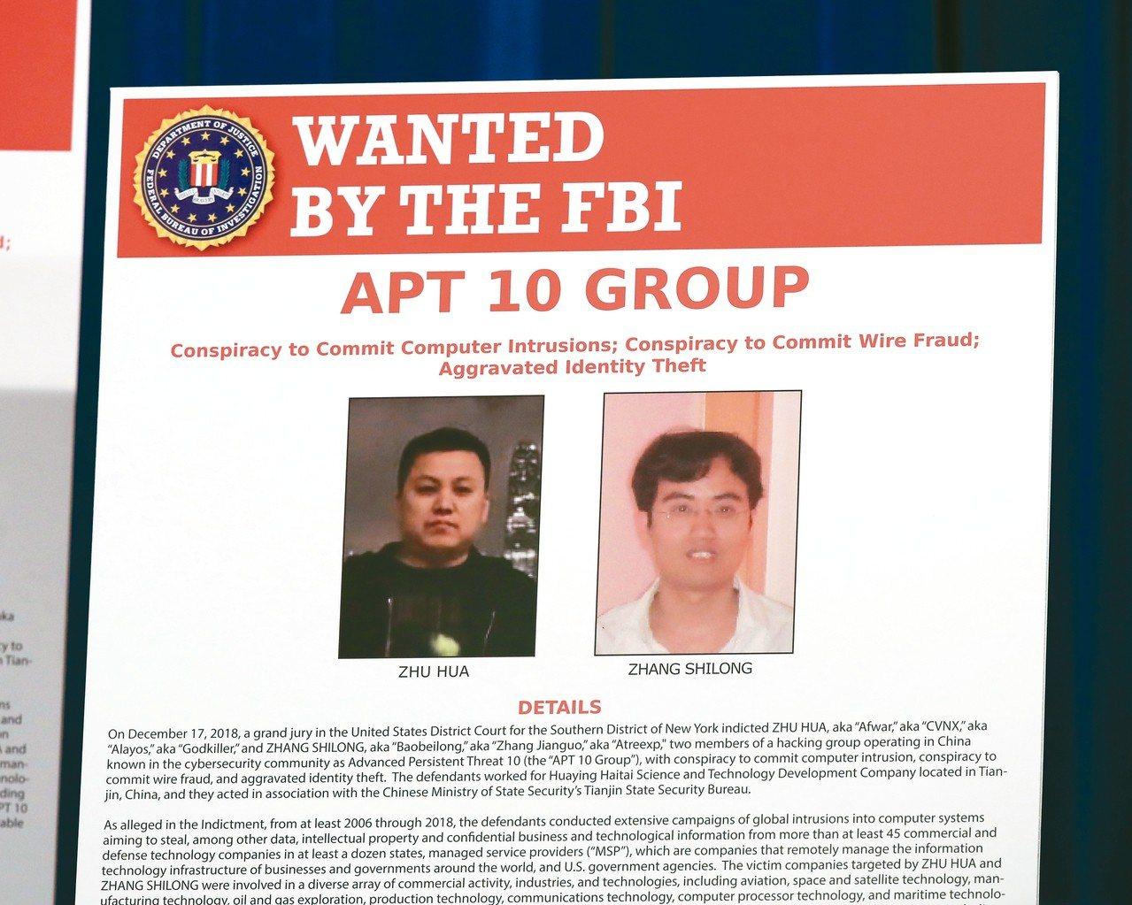 美國司法部起訴與大陸國家安全部有關的二名駭客朱華(左)、張石龍(右),指控兩人涉...