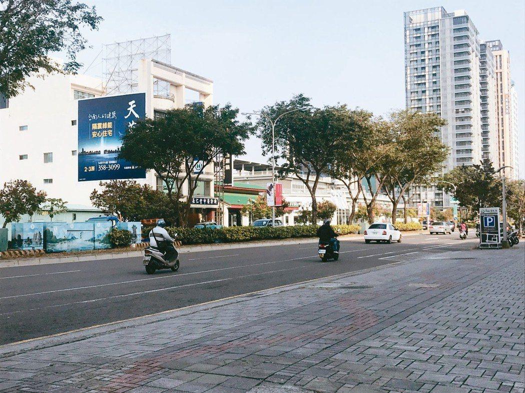 台南市政五期重畫區街景。 記者游智文/攝影