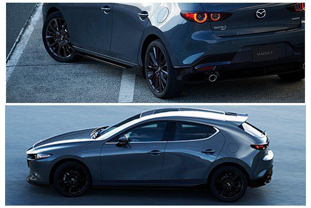 Mazda3 Custom Style式樣車透過黑色水箱護罩、前下擾流翼、側裙、...