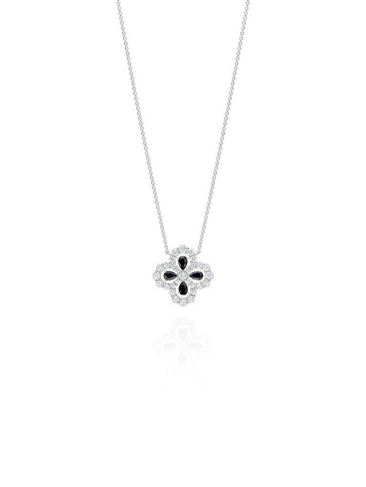 海瑞溫斯頓Diamond Loop珠寶系列,實心花型黑色尖晶石鑽石鍊墜,35萬元...