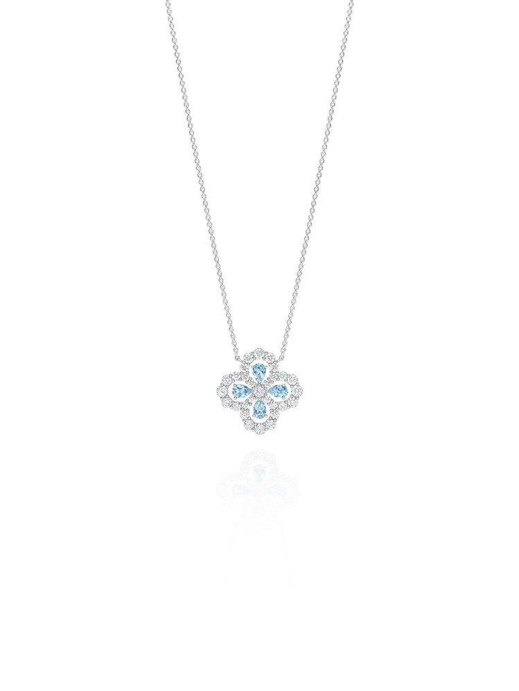 海瑞溫斯頓Diamond Loop珠寶系列實心花型海藍寶石鑽石鍊墜35萬元。圖/...